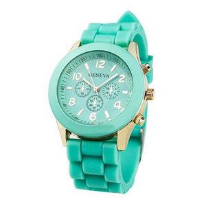 Geneva Mint Green Silicone Watch w/Gold Hardware